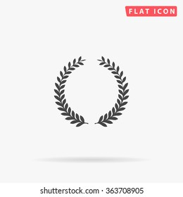 Laurel wreath Icon Vector. Simple flat symbol. Perfect Black pictogram illustration on white background.