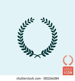 Laurel wreath icon. Winner wreath isolated, minimal design. Vector illustration