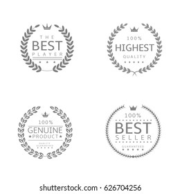 Laurel wreath icons. Best player, Genuine product, Highest quality, Best seller