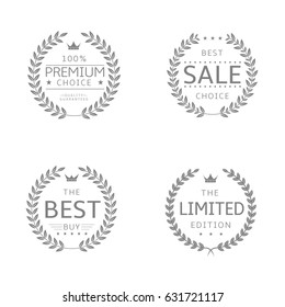 Laurel wreath icons. Sale, Premium choice, Best buy , Limited edition