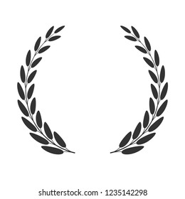 Laurel wreath isolated on white background. Vector icon.