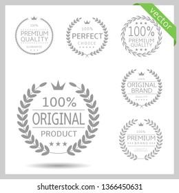 Laurel wreath label badge set isolated. Perfect choice, original product, premium quality. Vector illustration