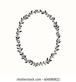 Laurel wreath, oval, ellipse. Vector illustration