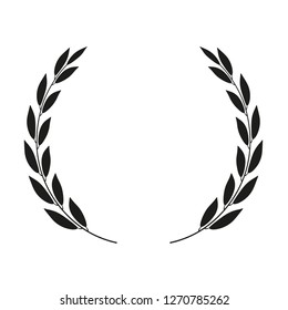 Laurel wreath placed on white background. Vector icon.
