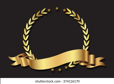 Laurel wreath with ribbon.Vector illustration.