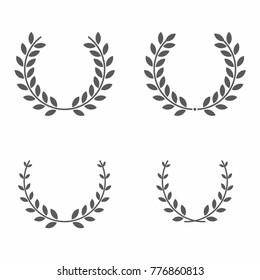 Laurel wreath set vector illustrations.