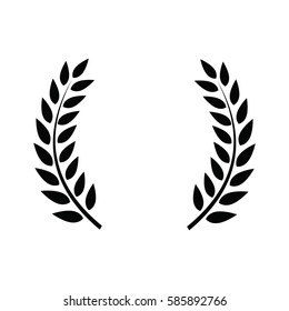 Laurel wreath - symbol of victory and power. Flat icon for apps and websites