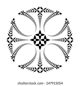 Laurel wreath tattoo. Black ornament. Cross Templar sign on white background.  Defense, peace, glory symbol. Vector isolated