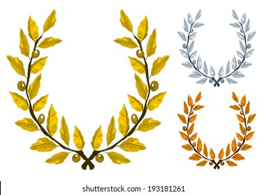 Laurel wreath three different color gold silver and bronze, award trophy