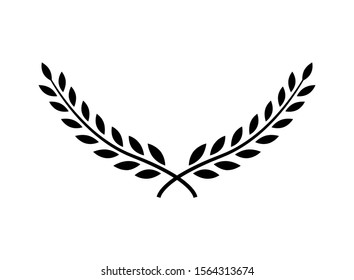 Laurel wreath vector award branch victory icon. Winner laurel wreath vintage leaf emblem.