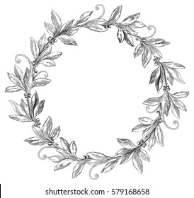 Laurel wreath. Vector Decorative element with copy space at engraving style.