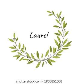 Laurel wreath. Vector design elementse. Illustration for greeting card, packaging.