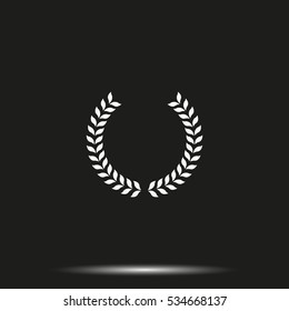 Laurel wreath vector icon. Simple flat pictogram.