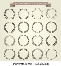 Laurel wreaths collection in heraldic style, garlands set for blazons, vector