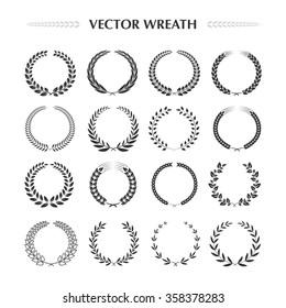 Laurel wreaths collection on a white background. Laurel, flower, wheat wreaths. Vector design elements