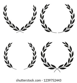Laurel wreaths icons of different shapes collection isolated on white background. Set of vector icons.