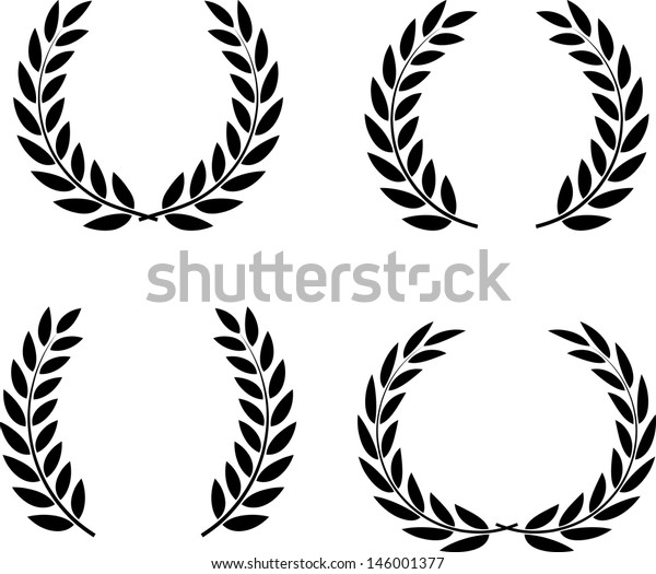 Laurel wreaths set vector isolated