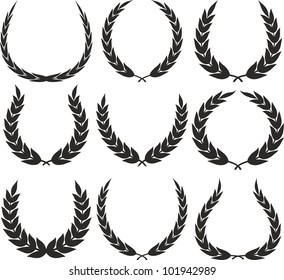 Laurel wreaths - Vector illustrations isolated on white background