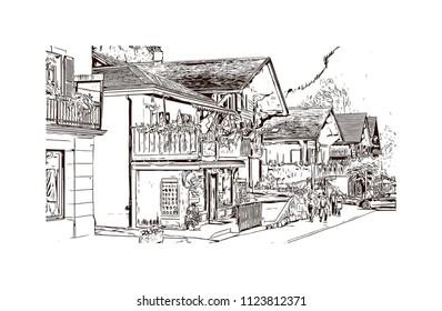 Lauterbrunnen, Village in Switzerland. Hand drawn sketch illustration in vector.