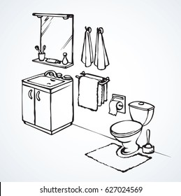 Lav cistern and bowl in bath apartment isolated on light background. Freehand outline ink hand drawn picture icon sketchy in art retro cartoon line doodle graphic style with space for text on floor