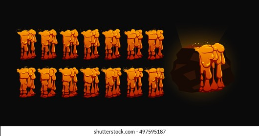 Lava animation. Sprite sheet for game or cartoon.