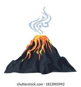 Lava eruption volcano icon. Cartoon of lava eruption volcano vector icon for web design isolated on white background