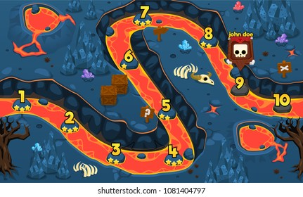 Lava volcano cave game level map