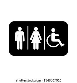 Lavatory Icon. Rest Room Signage. Toilet Symbol Vector Illustration Logo Template.