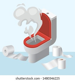 Lavatory pan wc littering with toilet paper vector illustration. Please do not litter in toilet flat style poster. Isolated on white background lavatory littered and splash.