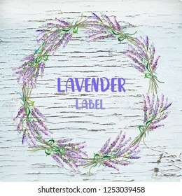 Lavender background with wreath and wood for the label, card or poster. Vector graphic illustration