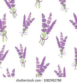 Lavender bouquets purple vector seamless pattern. Beautiful violet lavender retro background. Elegant fabric on light background Surface pattern design.