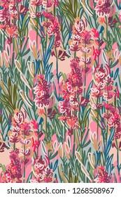 lavender colorful vector design flower art painting decoration wallpaper seamless pattern garden