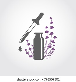 Lavender essential oil logo. Aromatherapy logo. Icon with a drop of lavender essential oil. A bottle with essential oil of lavender (flat icon). Aromatherapy, perfumery, cosmetics, spa logo.