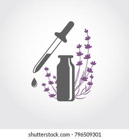 Lavender essential oil logo. Aromatherapy logo. Icon with a drop of lavender essential oil. A bottle with essential oil of lavender (flat icon). Aromatherapy, perfumery, cosmetics, spa logo.