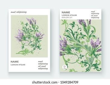 Lavender floral pattern cover design. Hand drawn flower. Elegant trendy artistic background blossom greenery branche. Graphic illustration wedding, invitation, poster, card, cover book, catalog
