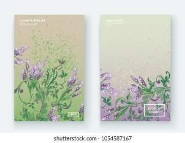 Lavender floral pattern cover design. Hand drawn creative flower. Elegant trendy artistic background blossom greenery branche. Graphic illustration wedding, invitation, poster, card, cover book