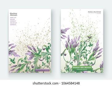 Lavender floral pattern cover design. Hand drawn baroque flower. Elegant trendy background blossom greenery branche. Graphic illustration wedding, invitation, poster, card, cover, catalog vector