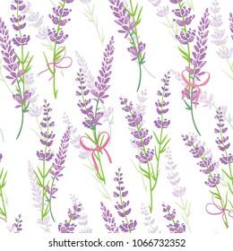 Lavender flower bouquets purple vector seamless pattern. Beautiful violet lavender retro background. Elegant fabric on light background Surface pattern design.