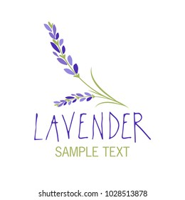 Lavender flower. Logo design. Text hand drawn.