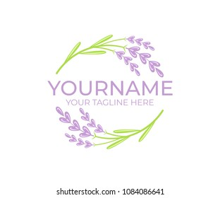 Lavender flower and plant, logo template. Beauty and natural cosmetic oil, circular vectorial design. Nature and organic essential oil, illustration