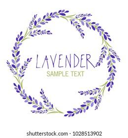 Lavender flower wreath. Logo design. Text hand drawn.