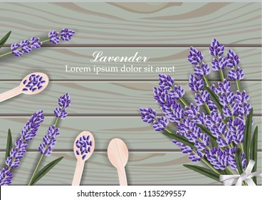 Lavender flowers bouquet on wooden background Vector