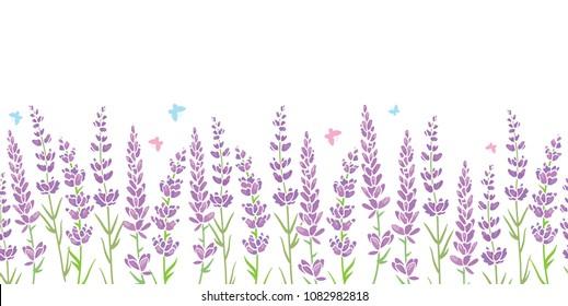 Lavender flowers frame border seamless pattern. Beautiful violet lavender flowers retro background and borders. Elegant fabric on light background. Surface pattern design.