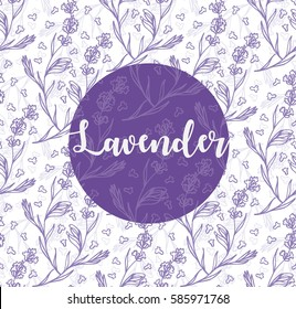 lavender flowers illustration with lavender word and seamless pattern background