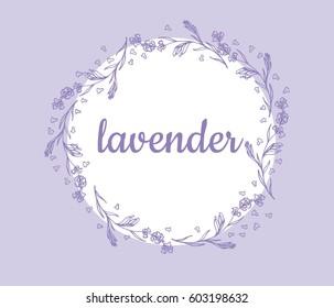 Lavender flowers vector illustration logo card round ornament