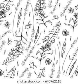 Lavender flowers, Willow herb, Chamerion angustifolium, fireweed, rosebay hand drawn graphic illustration, seamless vector floral pattern, graphic texture, decorative background for package cosmetic