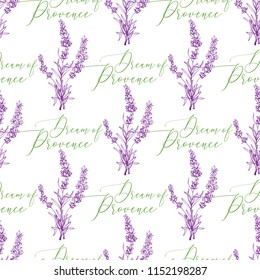 Lavender green purple outline floral seamless with lavender grass and dream of Provence lettering. Vintage sketch. Botanical illustration on white background. Vector pattern or card design.