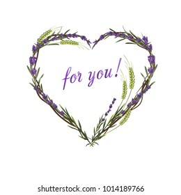 Lavender heart. Lavender and wheat. Greeting card. Love. Flower bouquet. Wreath of flowers.