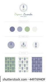 Lavender identity set. Pastel color palette, alternate logos, seamless patterns. For cosmetics, wedding invitations, print, textile.
