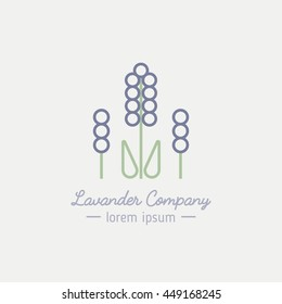 Lavender logo in minimal linear style. Product label for packaging design,cards, invitation, wedding design, cosmetics.